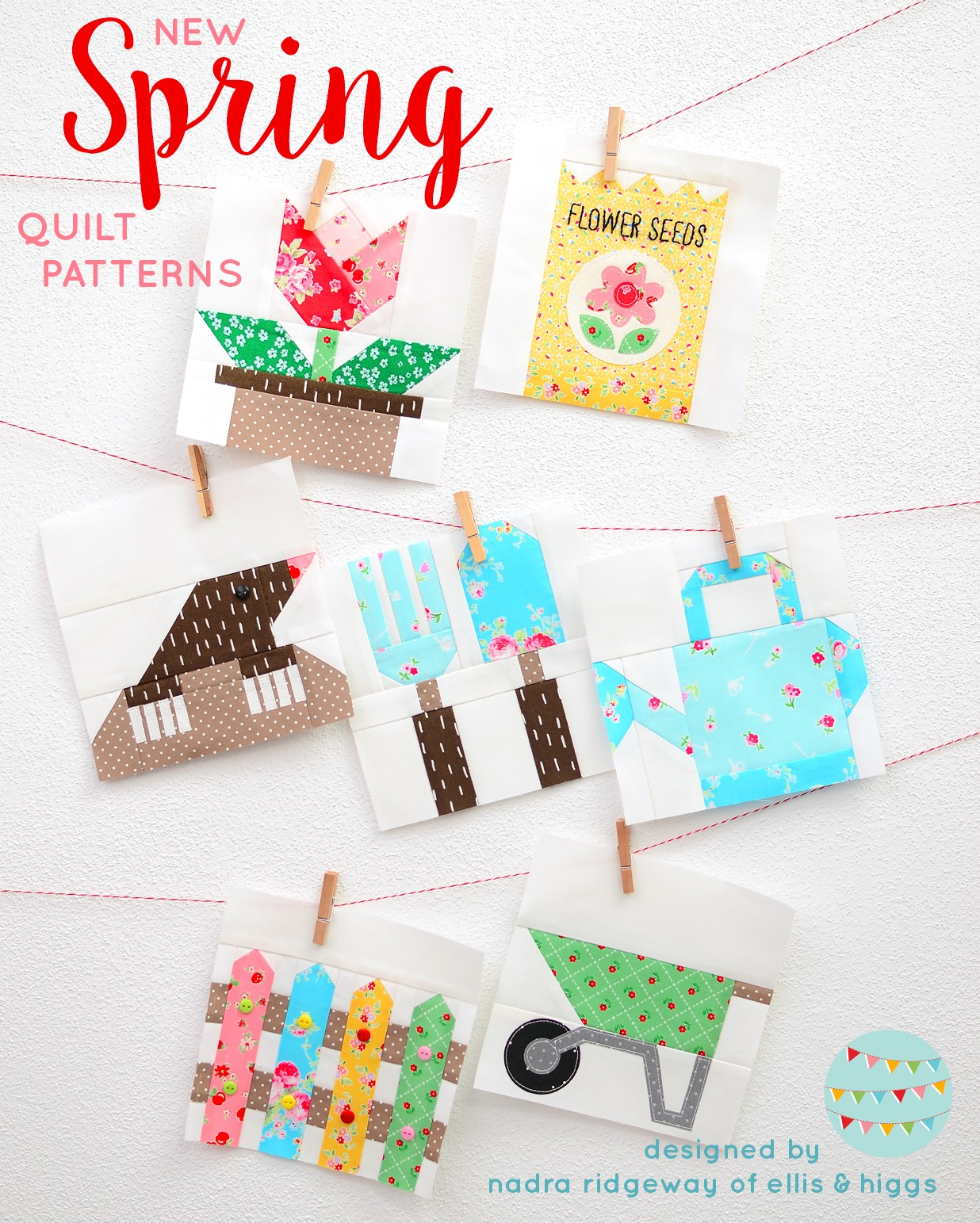 Spring quilt blocks hanging on a wall - Spring Quilt patterns