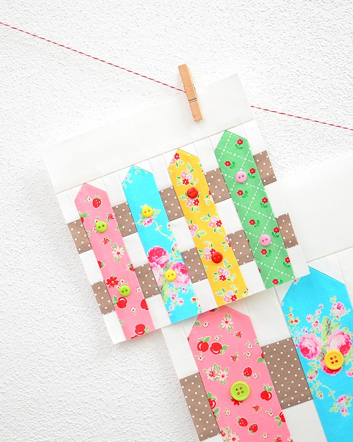 6 Inch Fence quilt block hanging on a wall