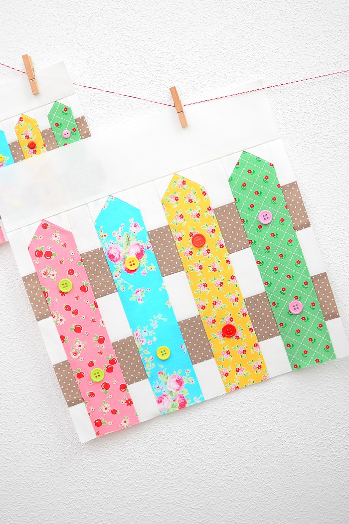 12 Inch Fence quilt block hanging on a wall