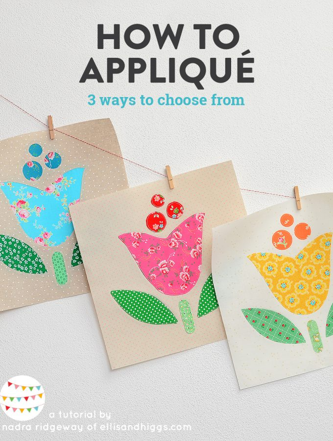 Tulip appliqués - raw edge, interfacing and reverse appliqué techniques