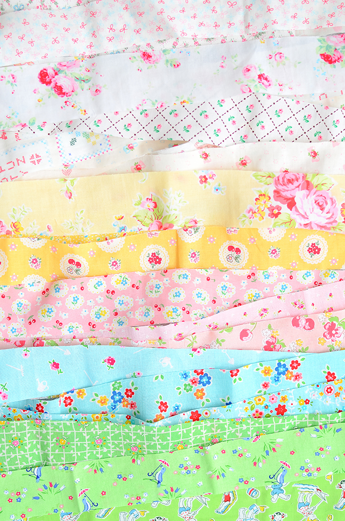 Pastel and low volume fabric strips