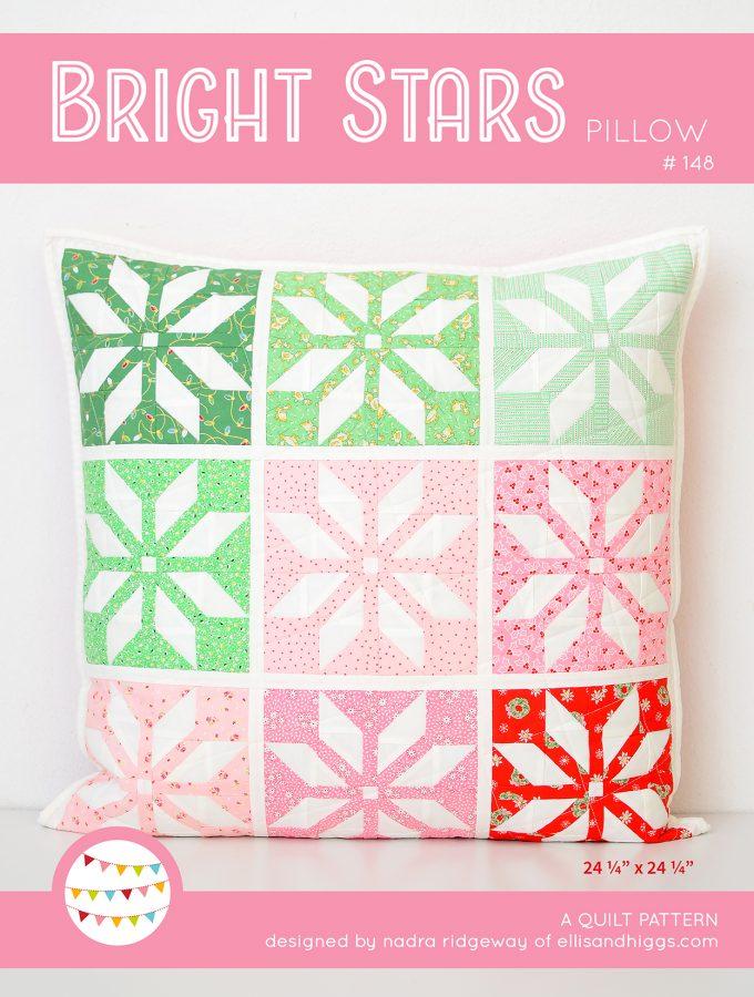 Christmas Quilt Pattern - Bright Stars Pillow / Mini Quilt Pattern