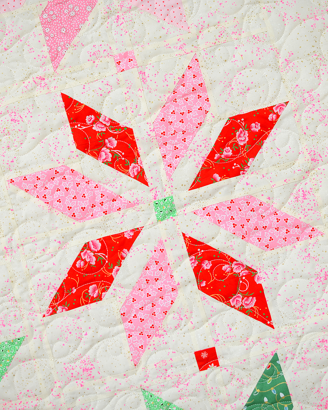 Red star quilt block in a Christmas quilt