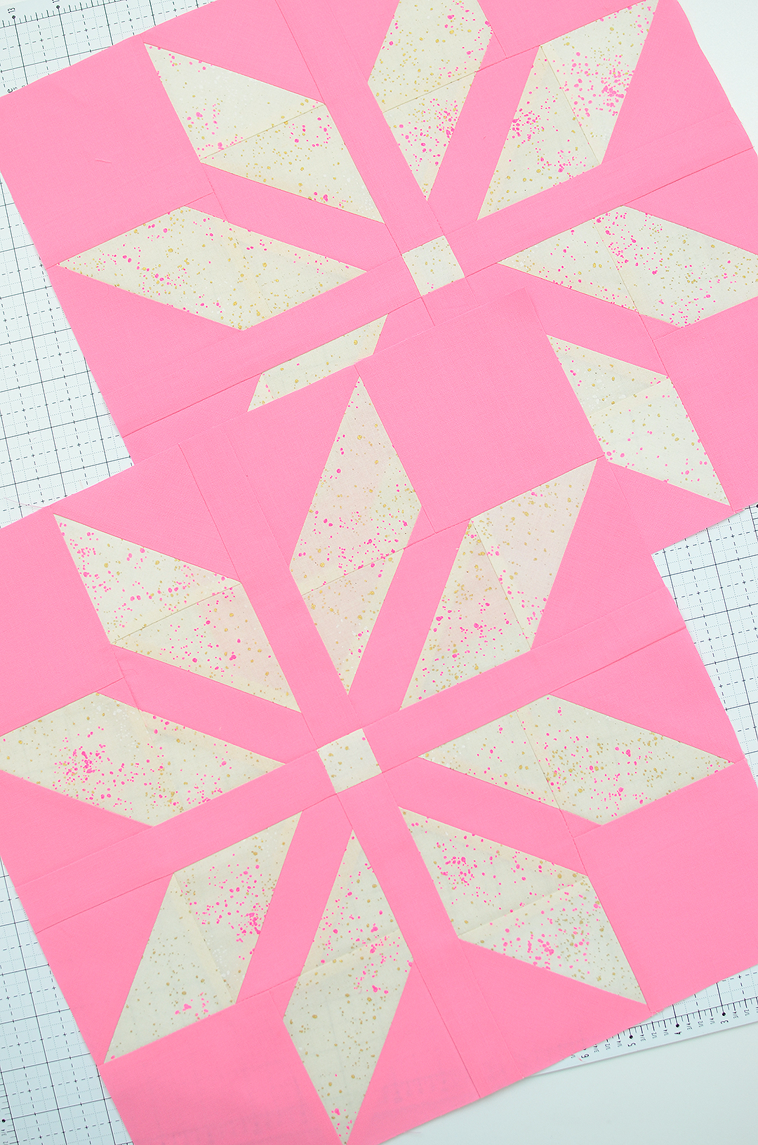 Pink star quilt blocks