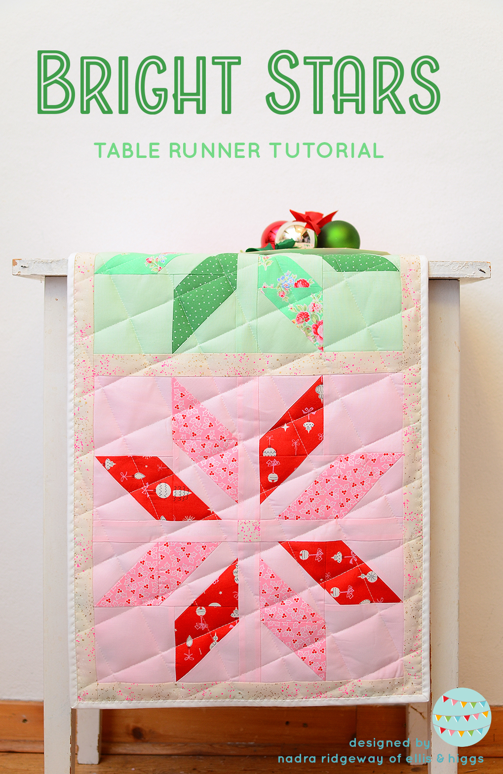 Christmas Quilt Pattern - Bright Stars Table Runner