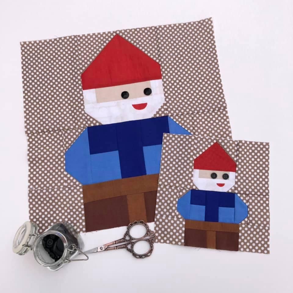 Gnome quilt blocks