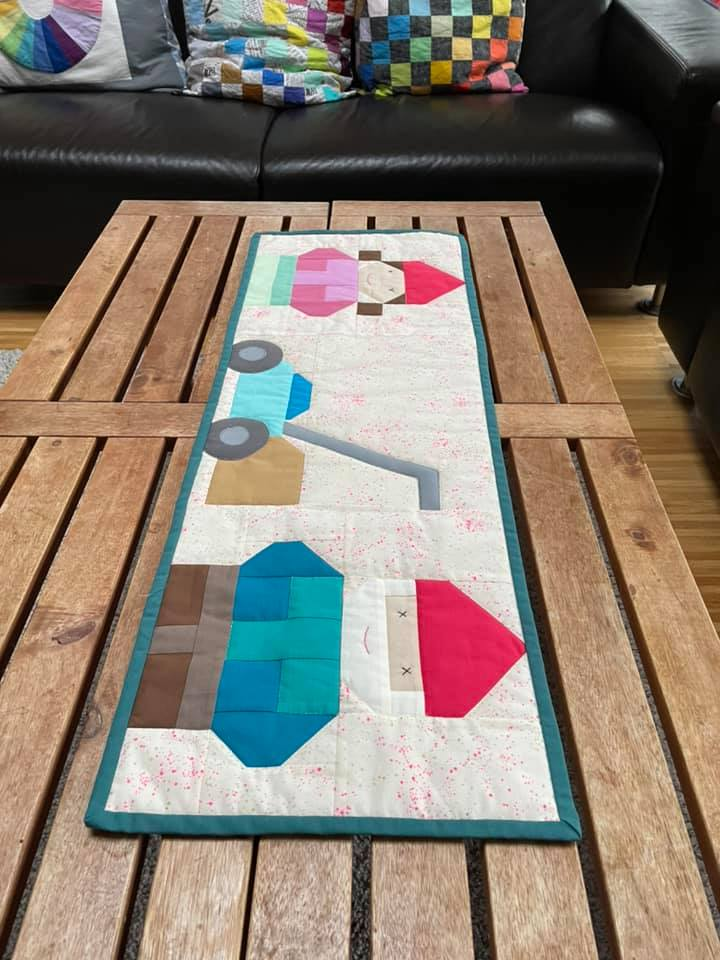 Gnome quilted table runner