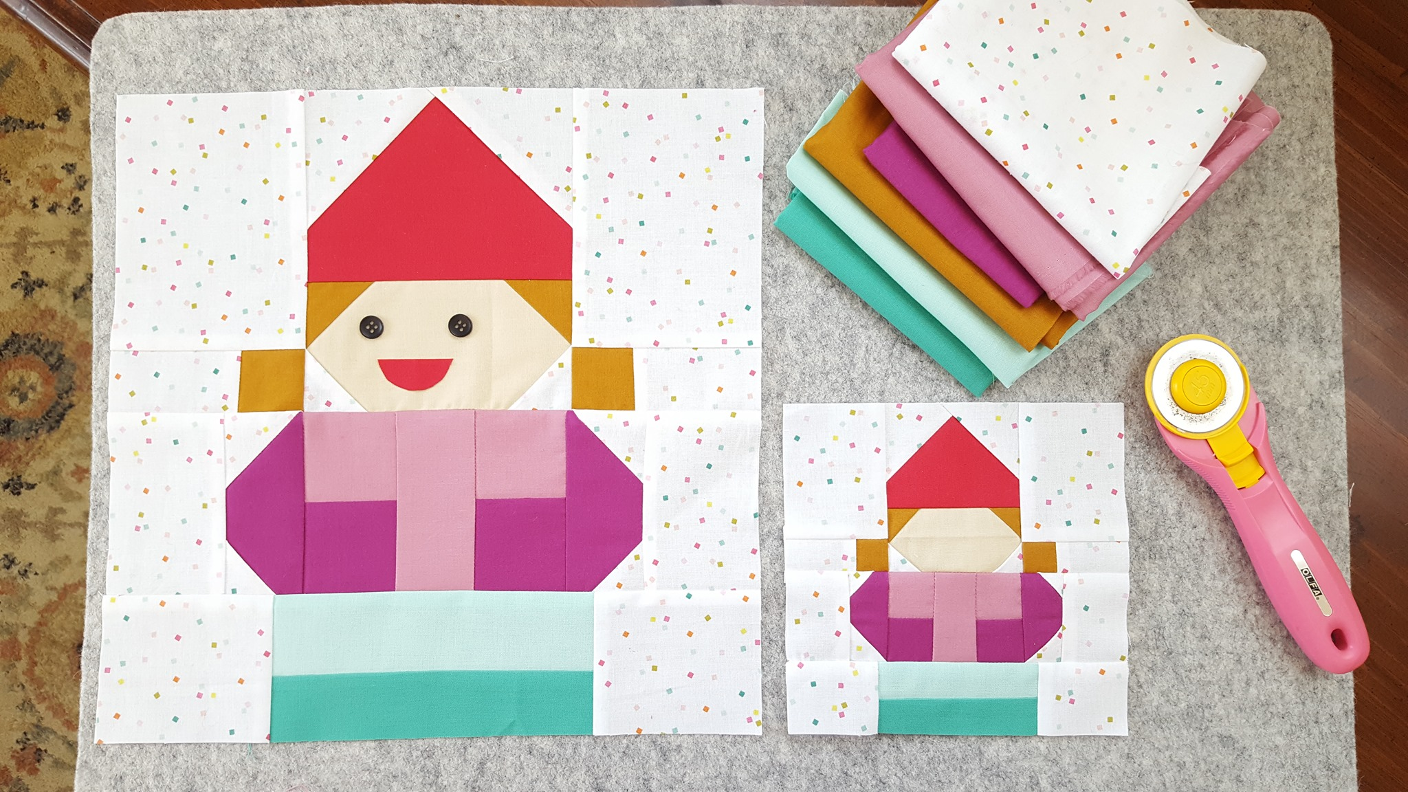 Mrs. Gnome quilt blocks