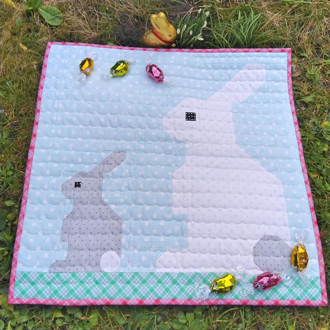 Pink Bunny quilt block
