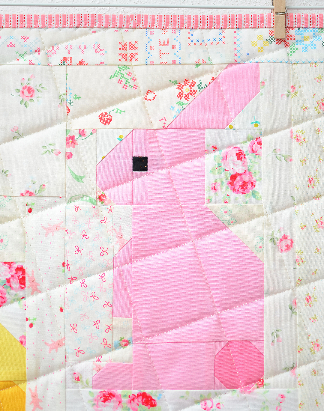 Bunny Easter quilt pattern - pink bunny