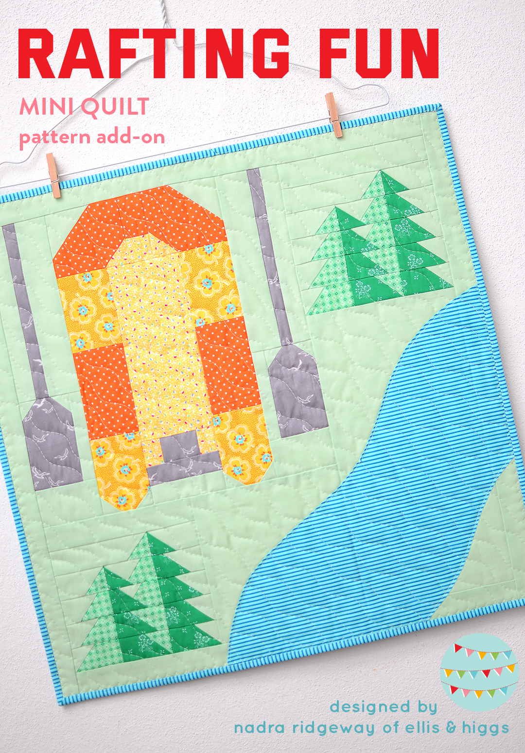 Rafting Boat mini quilt pattern - Camping quilt patterns