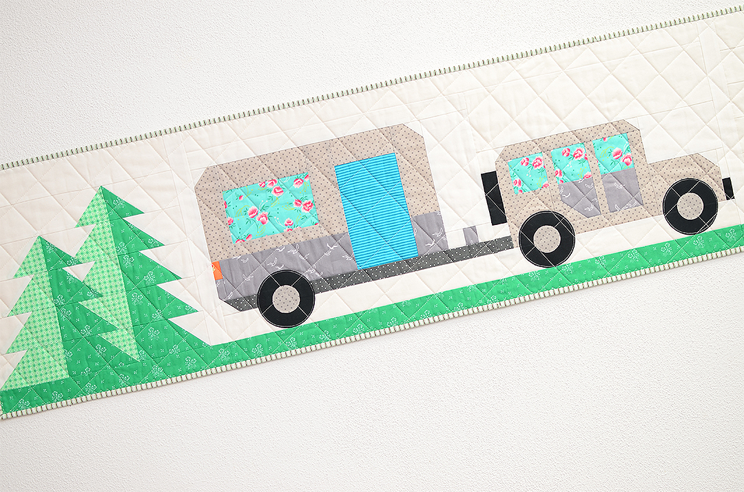 Happy Camper table runner quilt pattern - Camping quilt patterns