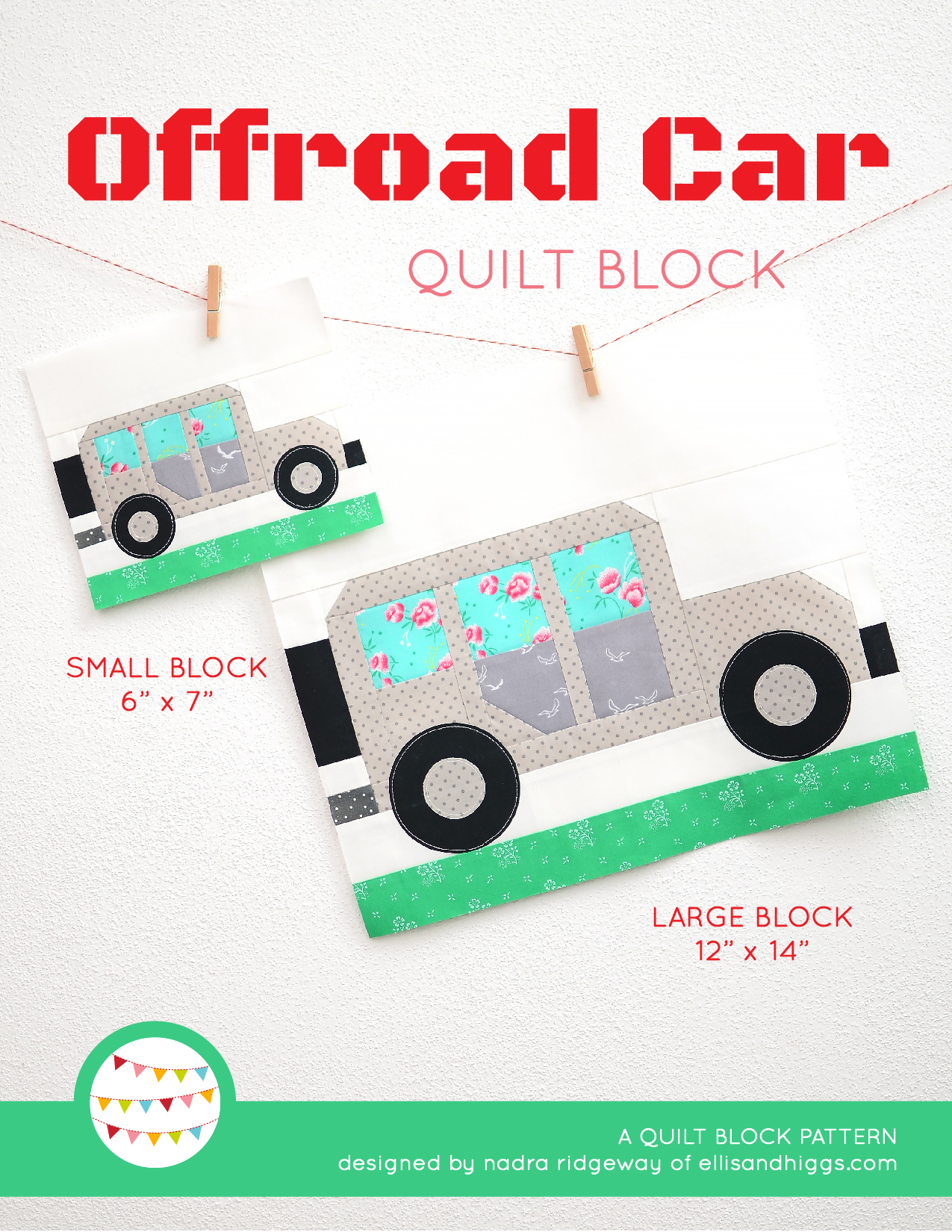 Summer quilt patterns - Offroad Car quilt pattern